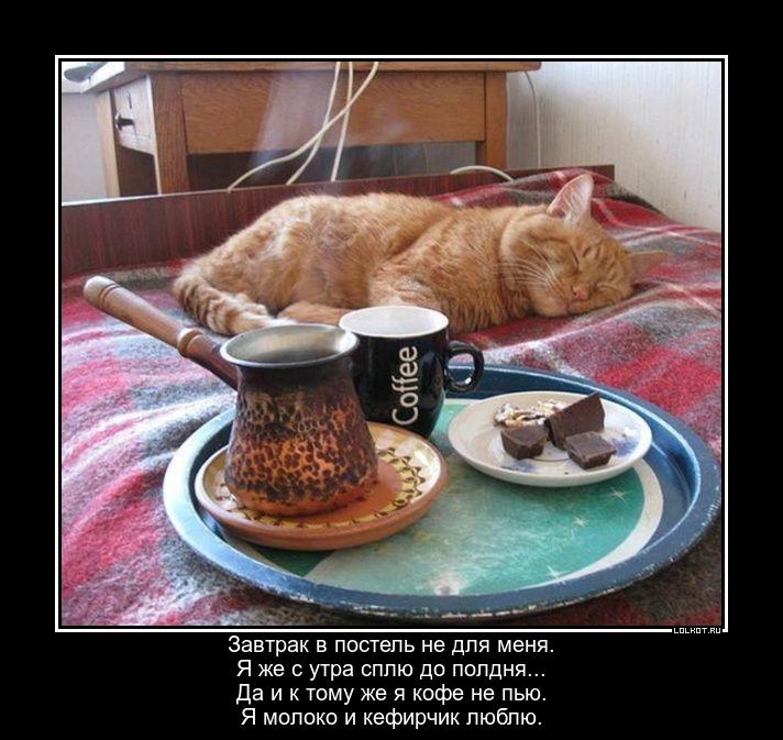 Надписи открытках, прикольная картинка завтрак в постель